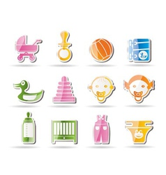 Simple child and baby online shop icons vector