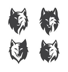 simple wolf head line art set vector image