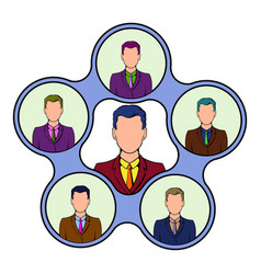 Team management icon cartoon vector