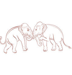 Thai traditional elephant painting vector
