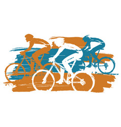 three cyclists mountain bike race vector image