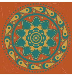 Turquoise ornament on orange background vector image