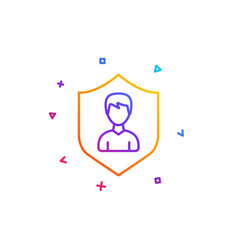 User protection line icon male profile sign vector