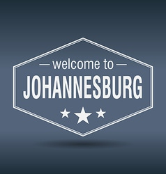 Welcome to Johannesburg hexagonal white vintage vector