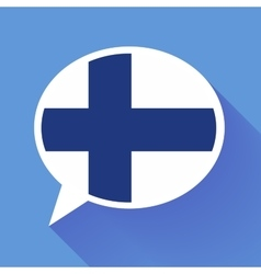 White speech bubble with Finland flag on blue vector