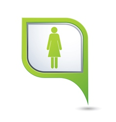 woman icon on green map pointer vector image vector image
