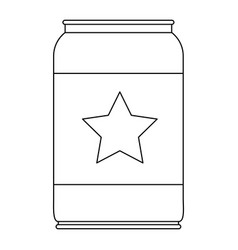beer can with star emblem in monochrome silhouette vector image