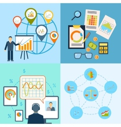 Business chart icon flat composition vector image