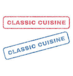 classic cuisine textile stamps vector image vector image