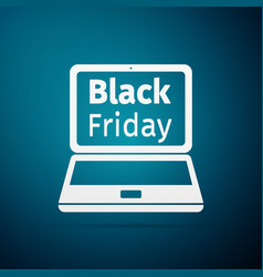 laptop with black friday sale on screen flat icon vector image vector image