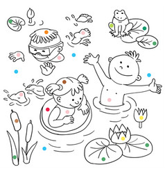 summer vacation cute little girl in a bathing vector image