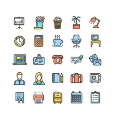 symbol office work color thin line icon set vector image vector image
