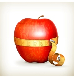 Tape measurement and apple vector image vector image