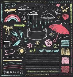 Vintage Chalkboard Design Elements Hand Drawn Set vector image vector image