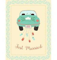 wedding car with border vector image vector image