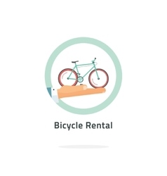 Bycicle rent badge rental icon logo vector image