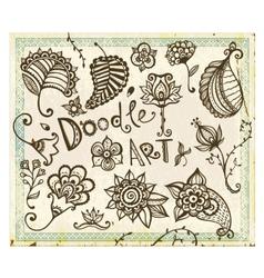 Doodle floral design elements set vector image vector image