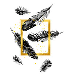 golden frame and hand drawn feathers vector image