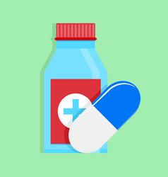 medical medicine bottle and capsule vector image