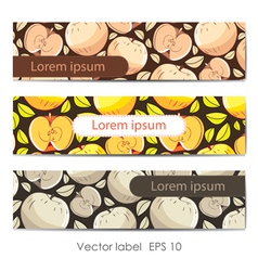 Set of three card with apples vector image vector image