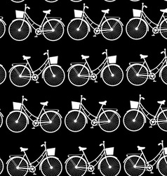Vintage bicycles seamless pattern black and white vector image