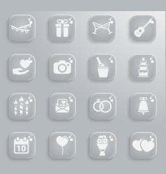 Wedding simply icons vector