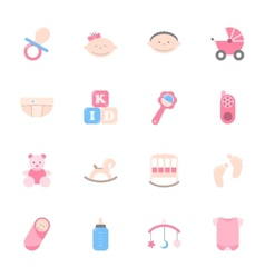 Baby flat icons set vector image