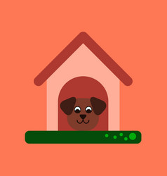 flat icon on background dog in booth vector image vector image