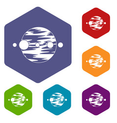 planet and moons icons set hexagon vector image