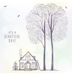 tree and house doodle vector image vector image