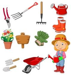 Cartoon women holding watering gardening tool vector image