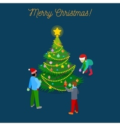 Christmas Isometric Greeting Card vector image vector image