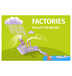 factories pollute nature ecology themed poster vector image
