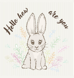 inscription hello like you and doodle rabbit vector image vector image