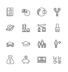 insurance icon set line icons vector image vector image