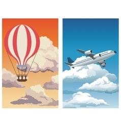 set sunset sky airballoon-blue sky clouds plane vector image vector image