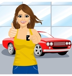woman holding the key and showing thumbs up vector image vector image