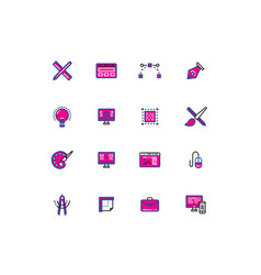 16 colored blue and pink design thin line icons vector image
