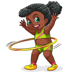A young black girl playing with the hulahoop vector