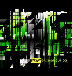 Abstract green shapes colors on a black vector