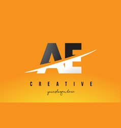 Ae a d letter modern logo design with yellow vector