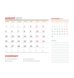 august 2019 week starts on monday calendar vector image