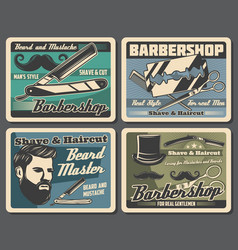 Barbershop razors blades haircut scissors combs vector