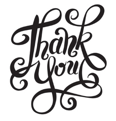 Black and white thank you handwritten lettering vector