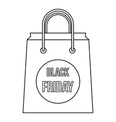 Black Friday shopping bag icon outline style vector image