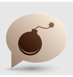 Bomb sign Brown gradient icon on vector image