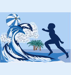 boy on beach vector image