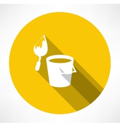 Bucket construction trowel icon vector