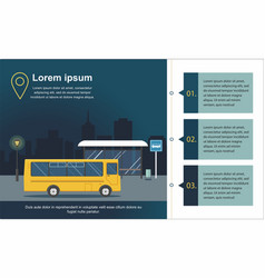 Bus at the bus stop on background of night city vector