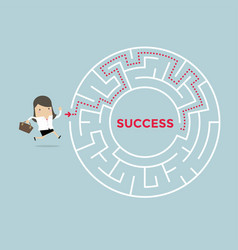 businesswoman going to success in a maze vector image